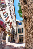 Fish-eye view of the old city on sky background Stock Photo