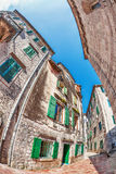 Fish-eye view of the old city on sky background Royalty Free Stock Photos