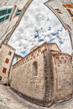 Fish-eye view of the old city on sky background Stock Photography