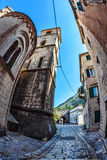 Fish-eye view of the old city on sky background Stock Image