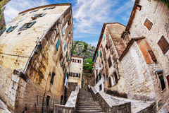 Fish-eye view of the old city on sky background Royalty Free Stock Photo