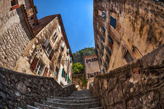 Fish-eye view of the old city on sky background Royalty Free Stock Photography