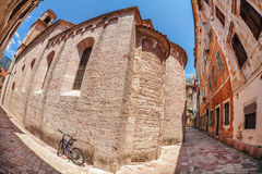 Fish-eye view of the old city on sky background Royalty Free Stock Images