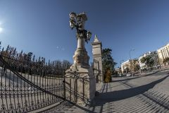 Fish-eye view 180 of one of the entrance to the Retiro park in M. Adrid city, Spain Stock Images