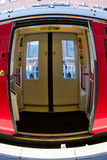 Fish eye view of open doors of a modern train Stock Image