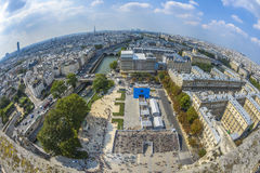 Fish-eye view of Paris from Notre-dame Royalty Free Stock Images