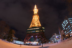 Fish eye view of Sapporo TV Tower Royalty Free Stock Photography
