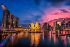 Fish-eye view of Singapore city skylin Royalty Free Stock Photo