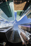 Fish-eye View of the Singapore Skyline. Financial district Stock Images