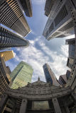 Fish-eye View of the Singapore Skyline Stock Photography