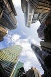 Fish-eye View of the Singapore Skyline Stock Photo