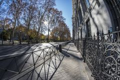 Fish eye 180 view of a street in the city of Madrid. Fish eye 180 view of a street in the Madrid city, Spain Royalty Free Stock Images