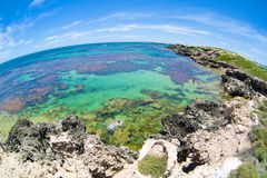 Fish-eye view on tropical beach and ocean Royalty Free Stock Photos