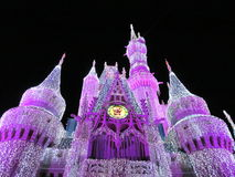 Fish eyed castle. Night light purple palace disney Royalty Free Stock Photography