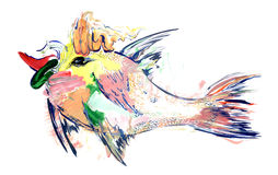 Fish. A fabulous colorful fish painted on a white background lots of different strokes and artistic techniques Stock Photos