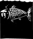 Fish Face. Woodcut style image of a fish with a human face Stock Photos