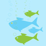 Fish Family. Cute fish family swimming in the water Stock Images