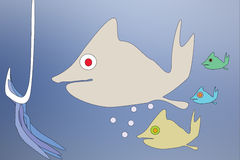 Fish family. Vector illustration family fish find  bits in the bottom of sea Royalty Free Stock Photo