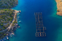 Fish farm aerial Royalty Free Stock Photos