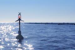 Fish farm on blue ocean sea horizon Royalty Free Stock Images