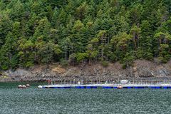 Free Fish Farm In The Salish Sea, Floating Pens Close To A Rocky, Forest Covered Coastline Stock Photo - 151371960