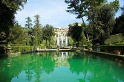 Fish farm and Neptun fountain. Of Villa d'Este in Tivoli Stock Photography
