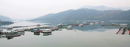 Fish farm in the reservoir. Fisheries in the reservoir of sichuan. China stock images