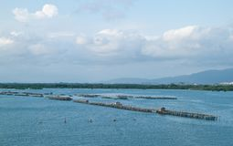 Fish farm in the sea Stock Images