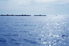 Fish farm view in blue mediterranean sea Stock Images