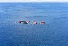 Fish farming in Atlantic Ocean. Royalty Free Stock Images