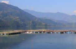 Fish farming Fhewa lake landscape Pokhara Nepal. Fish farming Fhewa lake landscape in Pokhara Nepal Stock Photography