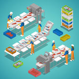 Fish Farming Industry with Conveyor and Workers. Vector flat 3d isometric illustration vector illustration