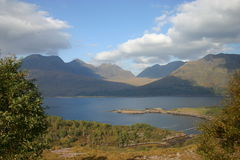 Fish farming in Upper Loch Torridon. A beautiful location for a fish farm Stock Images