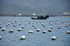 Fish farms & boat Stock Photo