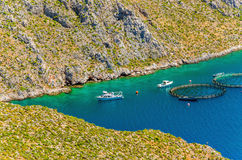 Fish farms with cages in Greece Stock Photos