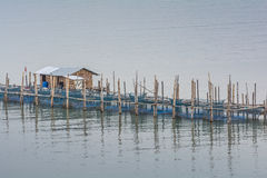 Fish farms, Fish cages at The estuary Laem Sing Royalty Free Stock Photography