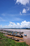 Fish farms in Khong river Royalty Free Stock Images