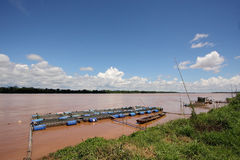 Fish farms in Khong river Stock Photo