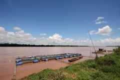 Fish farms in Khong river.  Stock Photo