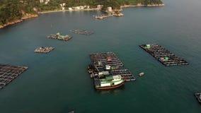 Fish farms in the sea. stock video