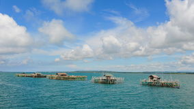 Fish farms on stilts in Cebu seas Royalty Free Stock Photos
