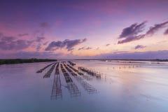 Fish farms at sunrise in chanthaburi,Thailand Royalty Free Stock Photography