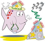 Fish fashion cartoon. Cartoon of funny fish wearing hat decorated with sea anemones and starfish Royalty Free Stock Photography