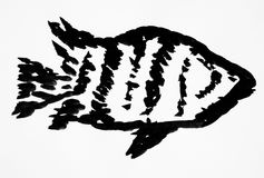 Fish grunge brush painting. In black and white Royalty Free Stock Image