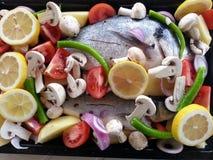 Fish filet wiht vegetable Stock Photos