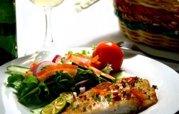 Fish fillet. With garlic sauce and garden fresh salad stock images