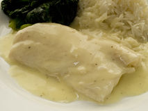 Fish fillet. With white sauce, rice and spinach Royalty Free Stock Photography