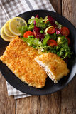 Fish fillet of Arctic char in breadcrumbs and fresh salad close- Stock Image