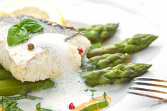Fish fillet with asparagus foam sauce Royalty Free Stock Photography