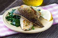 Fish fillet with chard Stock Images